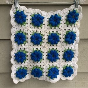 Vintage Handmade Floral Granny Square Wall Decor